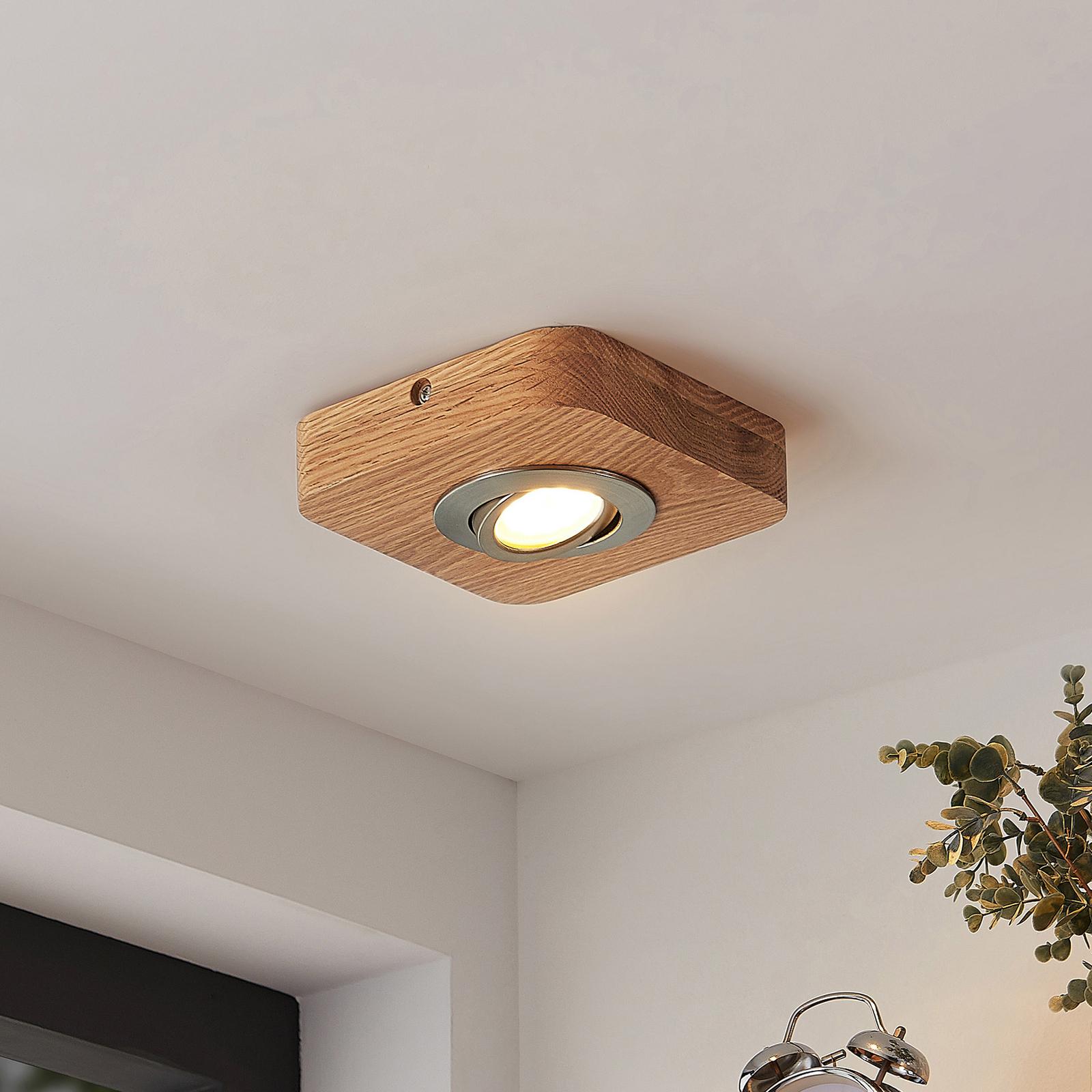 Lindby Mikari LED stropní světlo ze dřeva, 1 zdroj