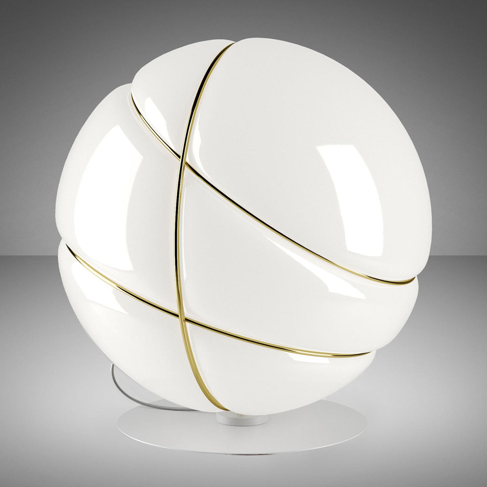 Fabbian Armilla Glas-Tischleuchte weiß, gold