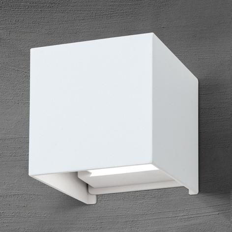 Würfelförmige LED-Außenwandleuchte Cube in Weiß