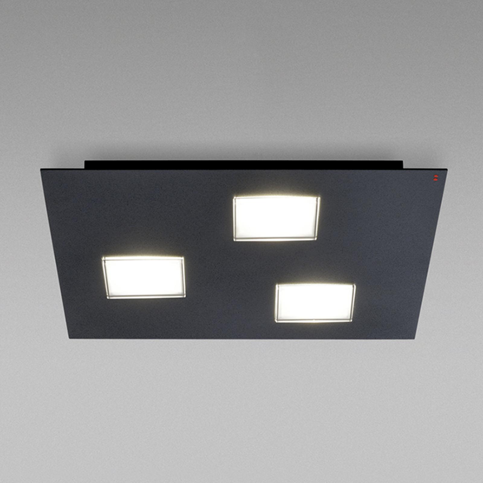 Plafonnier LED Quarter noir laqué, 3 lampes