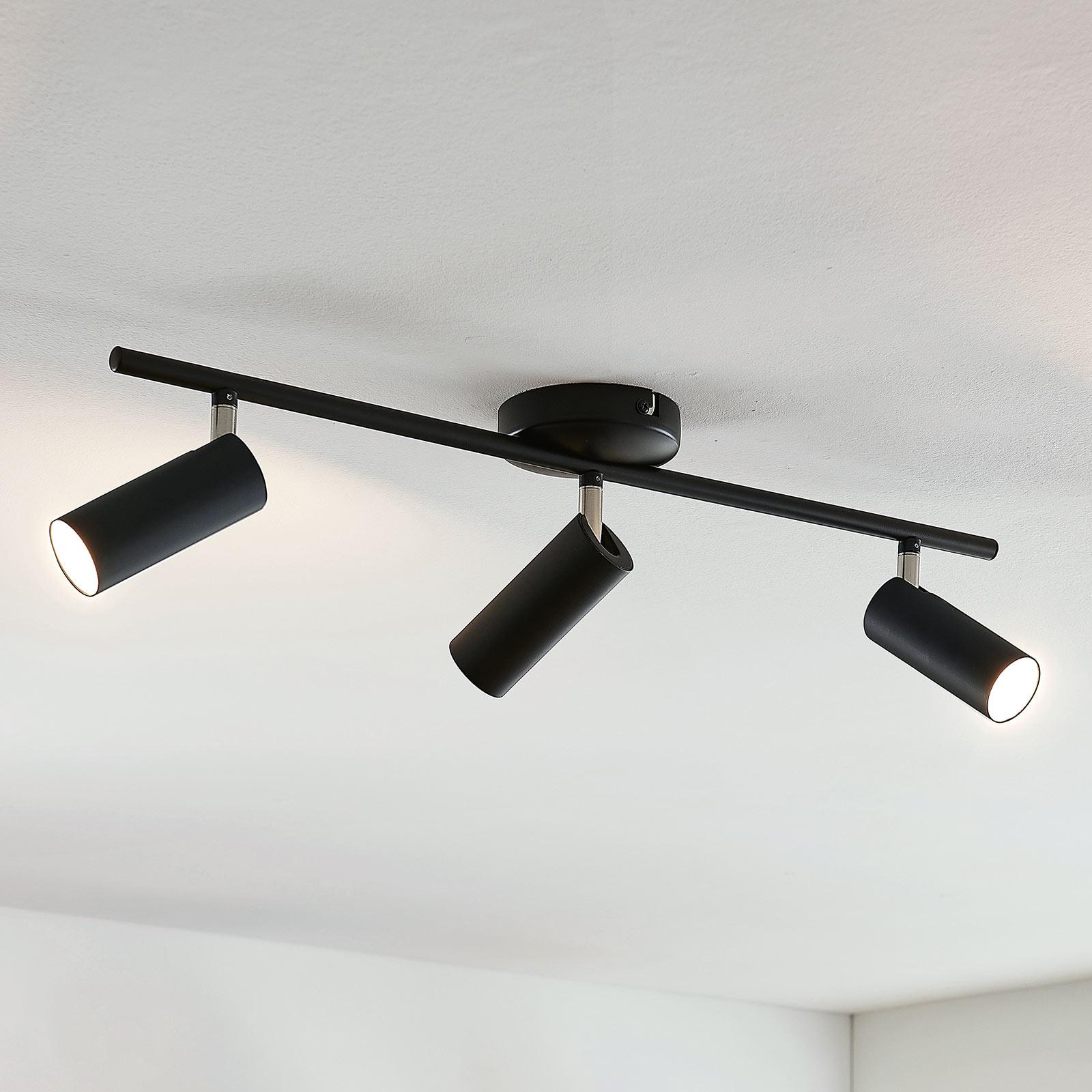 Camille LED ceiling light, black, 3-bulb_9643090_1