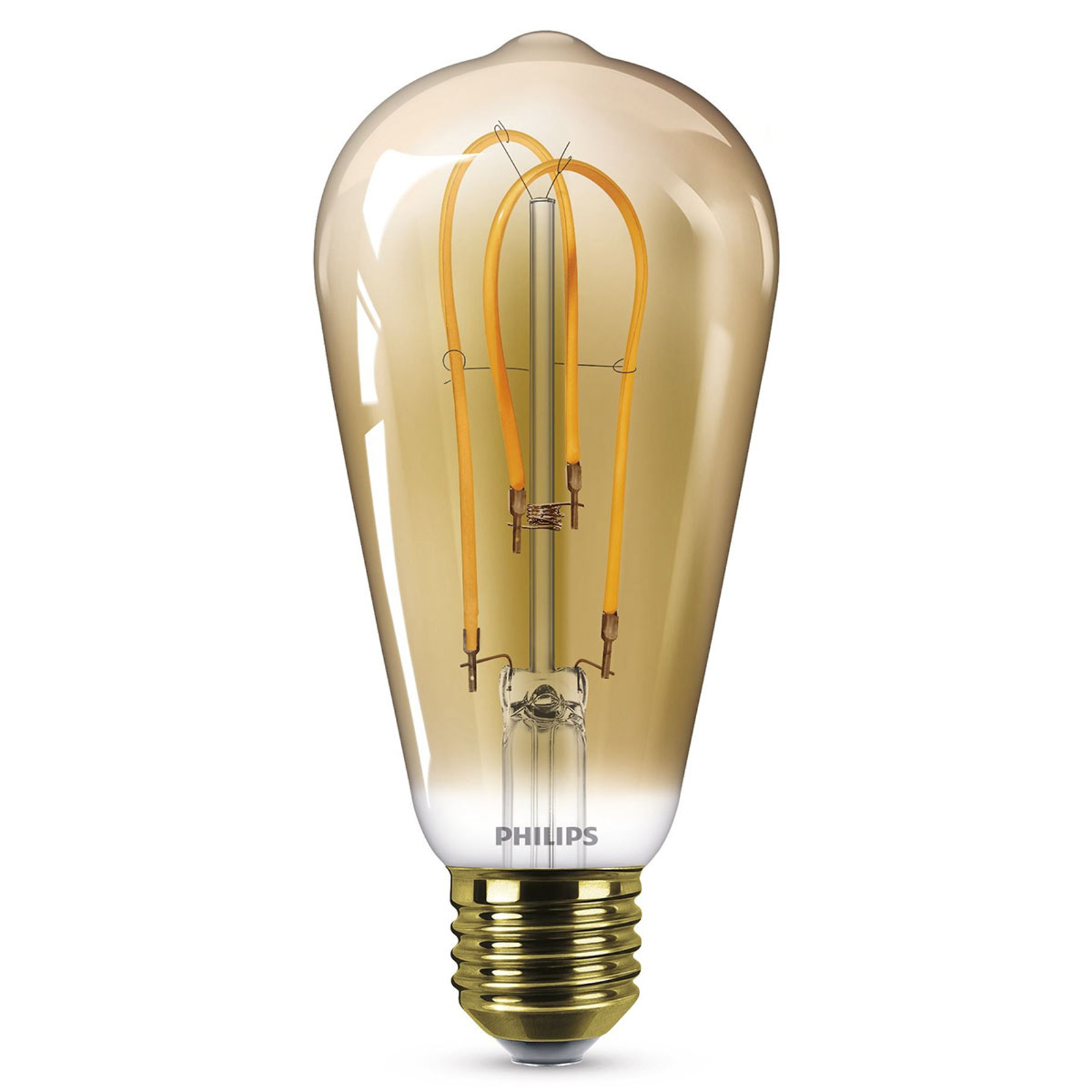 Philips E27 ST64 LED-Lampe Curved 4W 2.500K gold