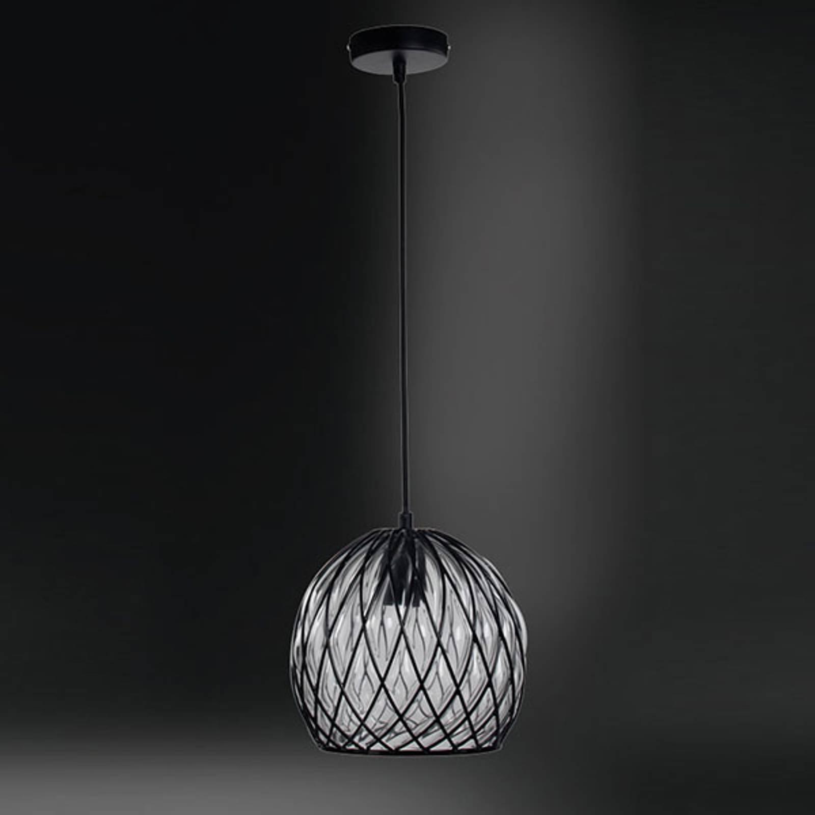 Glazen hanglamp Fiore met zwart metalen rooster