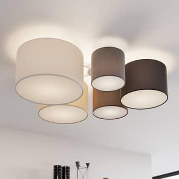 Lindby Laurenz plafón, 5 luces 90 cm marrón-beige