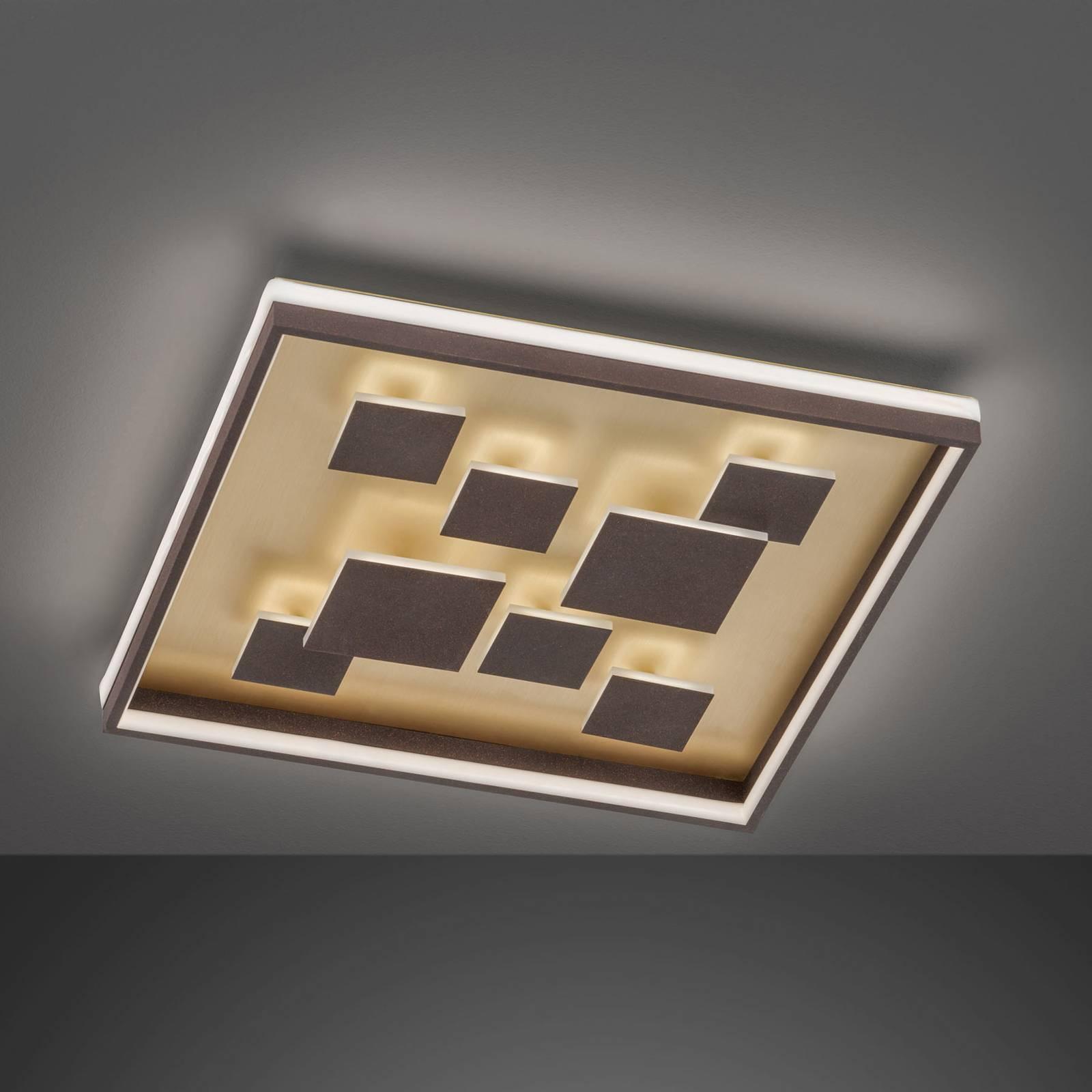 LED plafondlamp Rico, dimbaar, hoekig, bruin