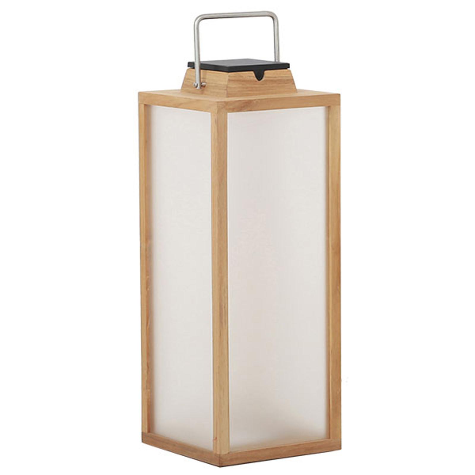 LED solární lucerna Tradition z teaku, výška 65 cm