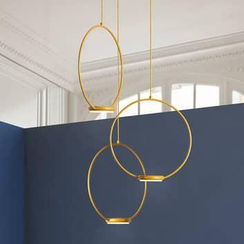 3-flammige, goldene LED-Hängeleuchte Odigiotto