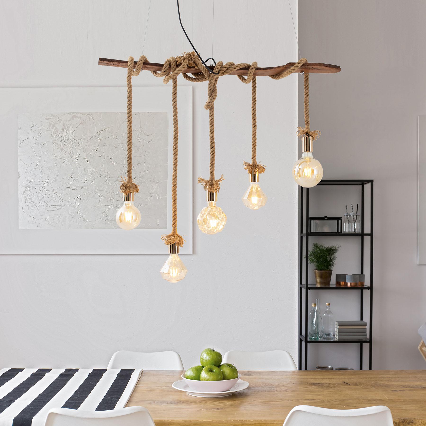 Lampa wisząca Rope, 5-punktowa z drewna i juty