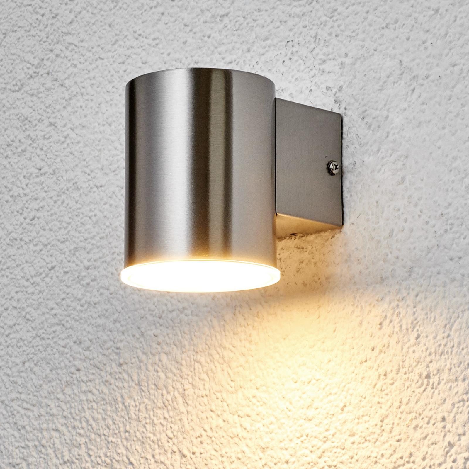 Rund LED-utomhusvägglampa Morena av rostfritt stål