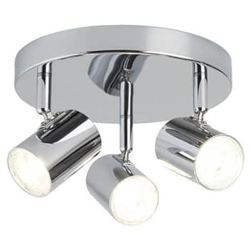 LED-Deckenleuchte Rollo, dreiflammig, chrom