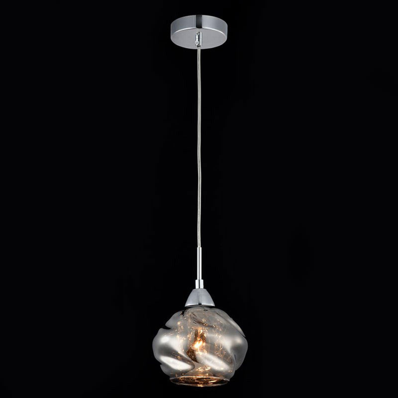Szara szklana lampa wisząca Haze z kryształami