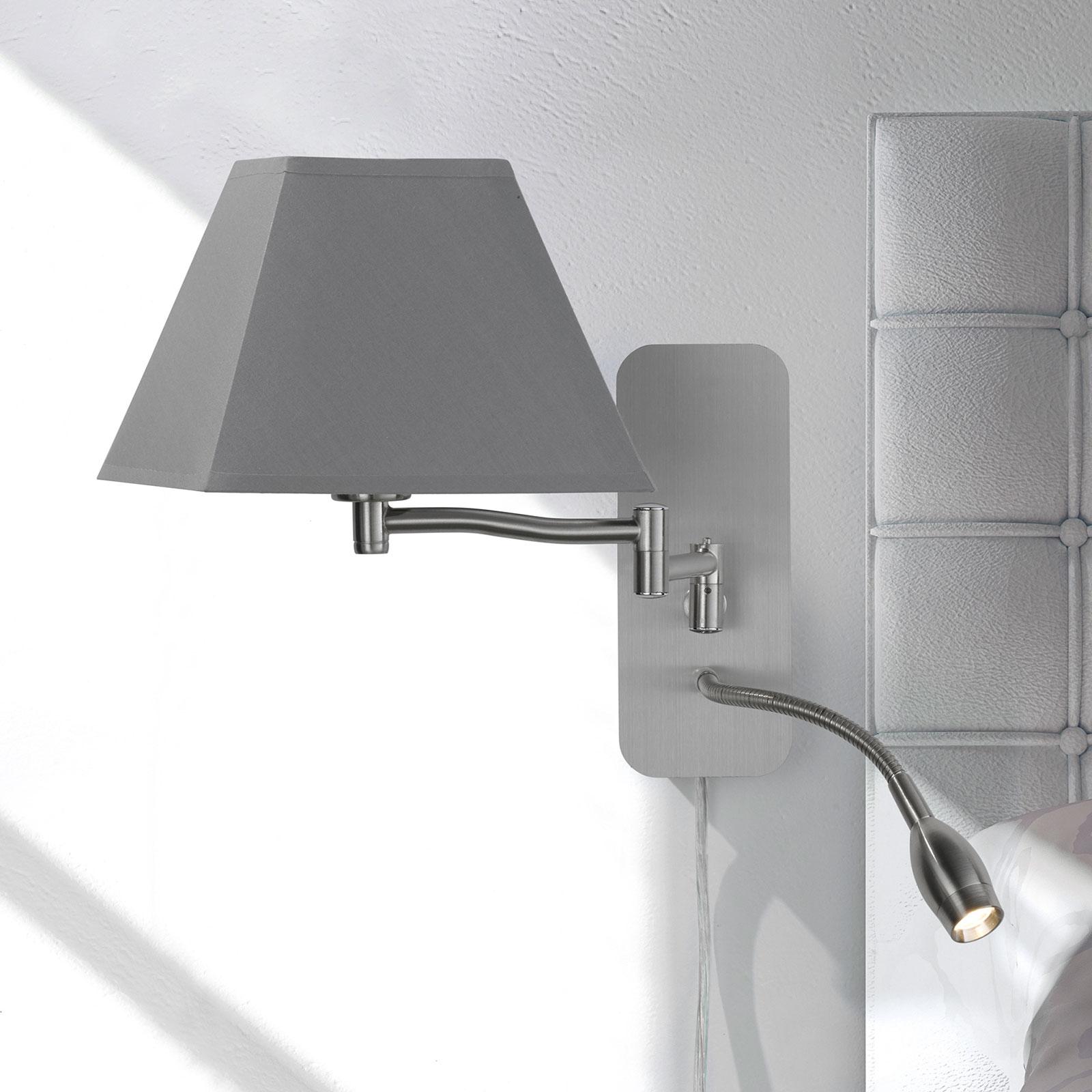 Applique tessile Hotel lampada LED lettura, grigia