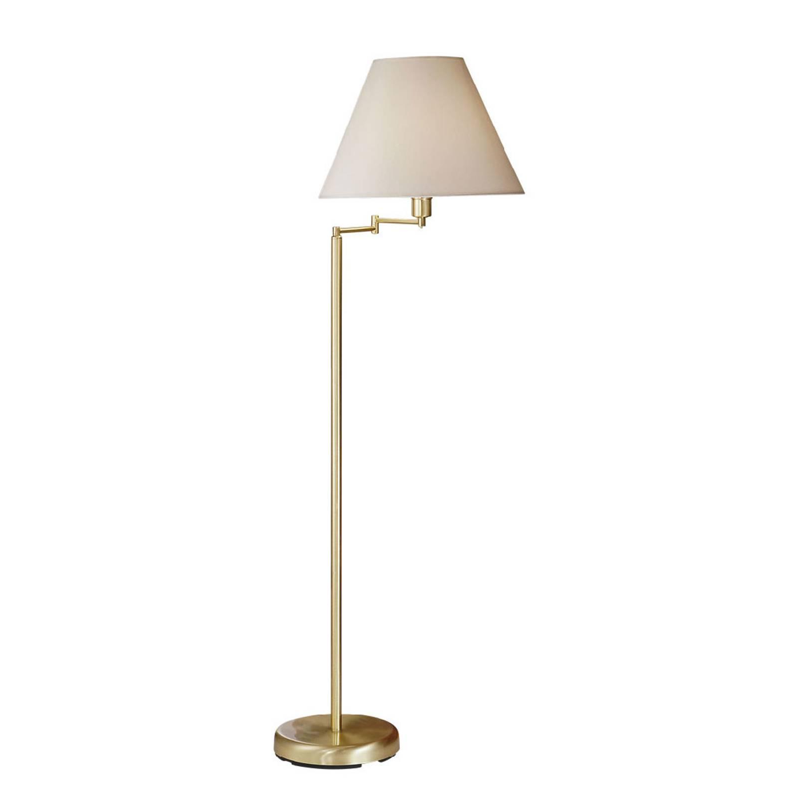 Vloerlamp Hilton, witte stoffen kap, messing