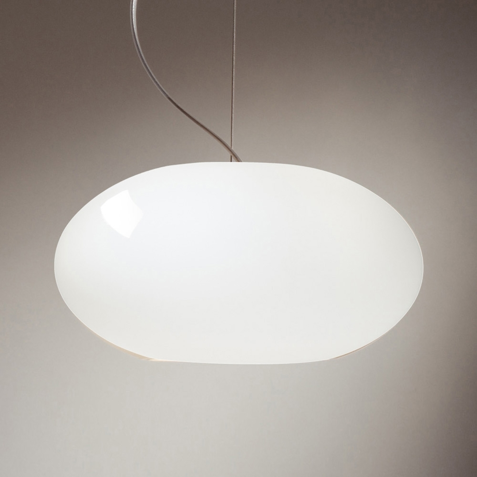 Puristisk hänglampa AIH, 19 cm, glänsande vit