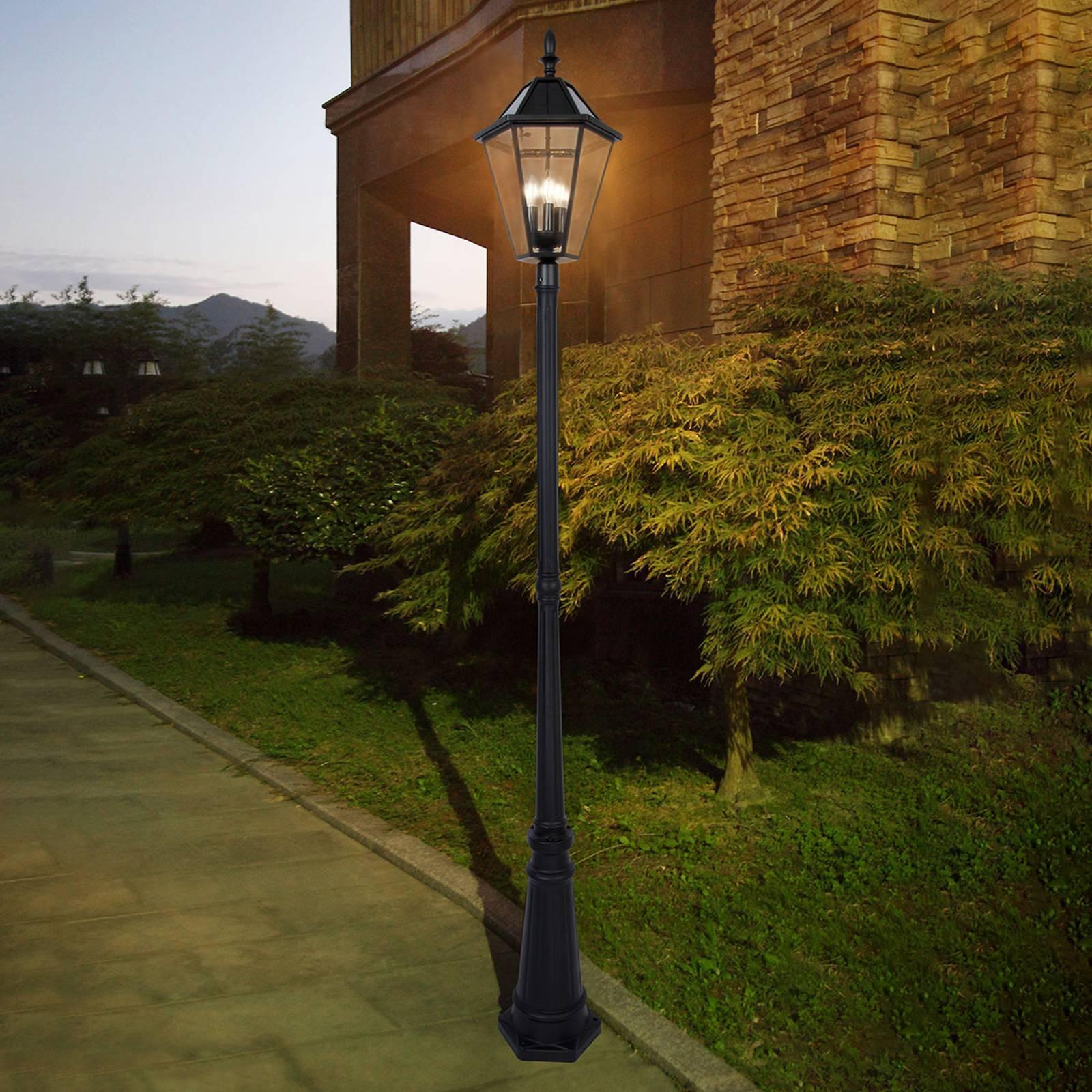 Solar Mastleuchte London mit Retrofit-LED-Lampen