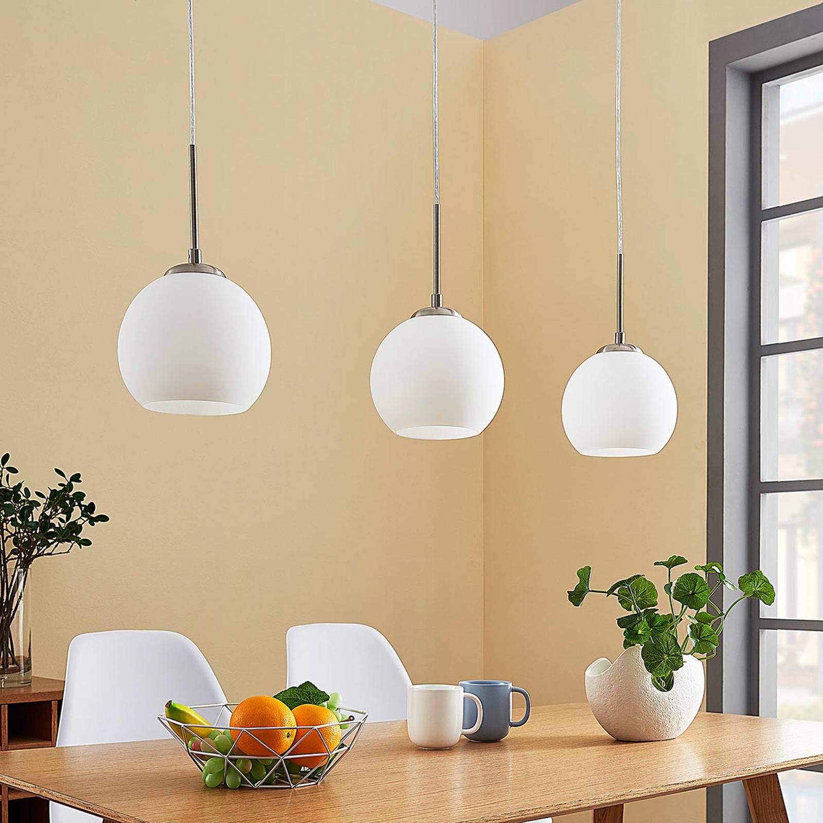 Glazen hanglamp Eloy met drie lampen