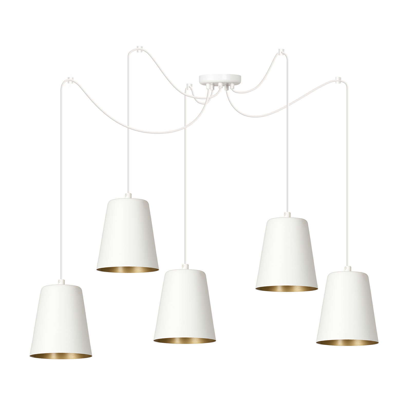 Hengelampe Link med fem enkeltskjermer, hvit
