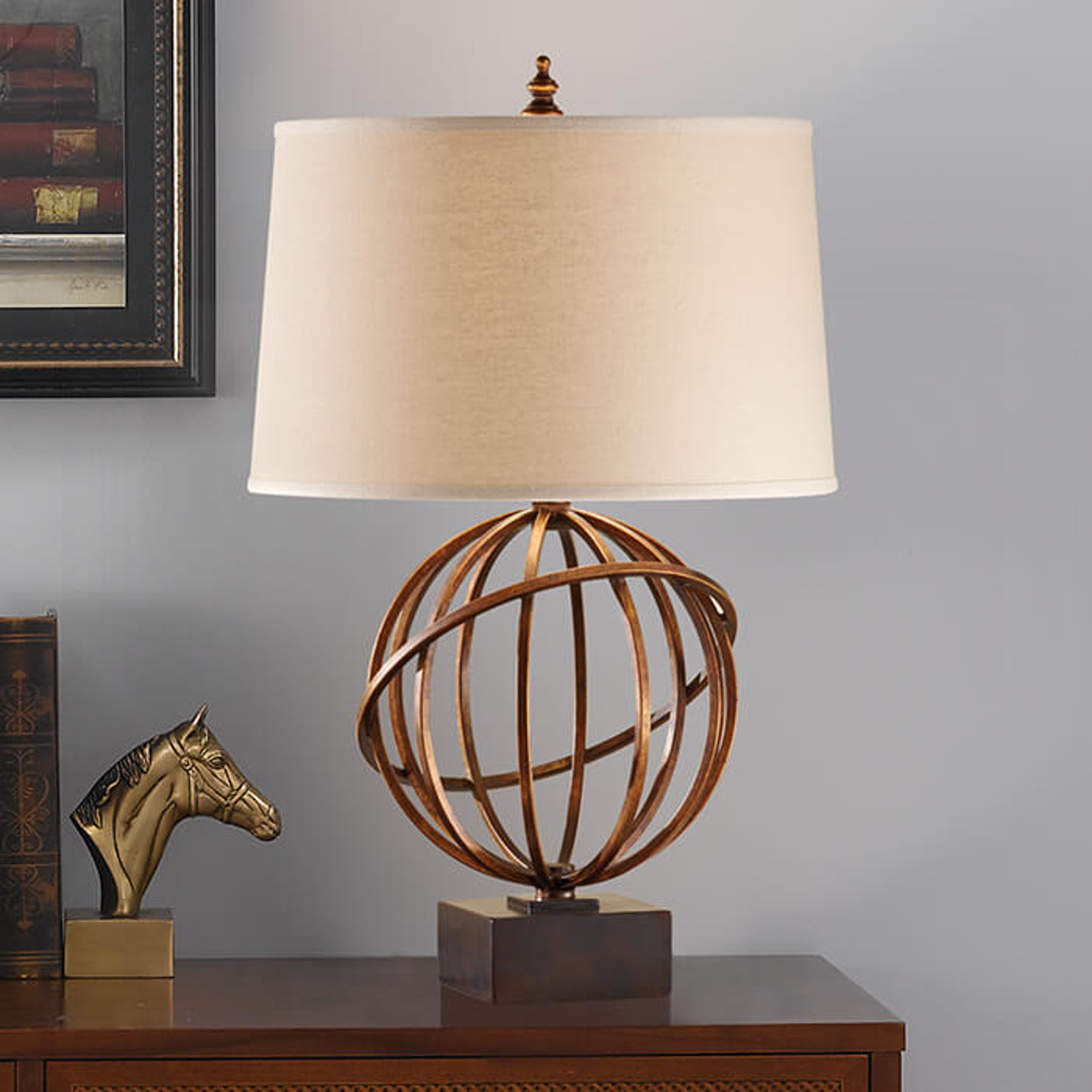 Modna tekstylna lampa stołowa Spencer