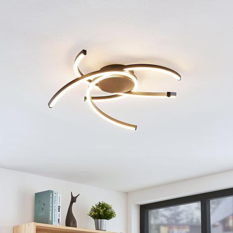 Lindby Katris lámpara LED de techo, 58 cm, negro