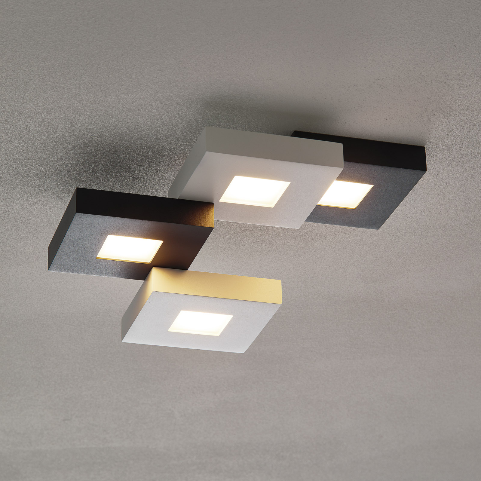 Cubus - LED-plafondlamp in zwart-wit, 4-l.