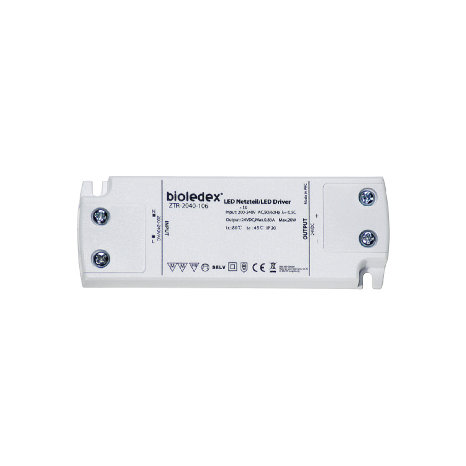 Bloc d'alimentation LED ZTR-2040-106 24V DC 20W