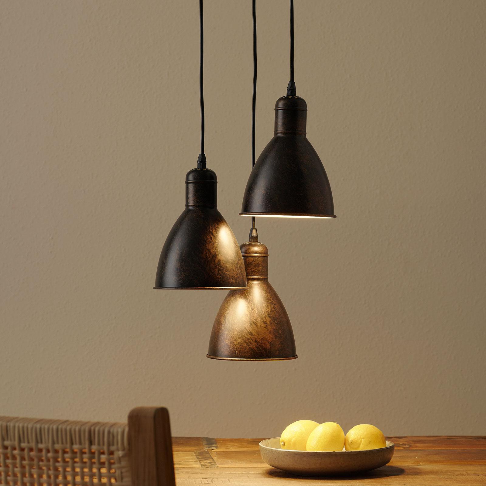 Priddy 1 vintage-hanglamp 3-lamps, koper antiek