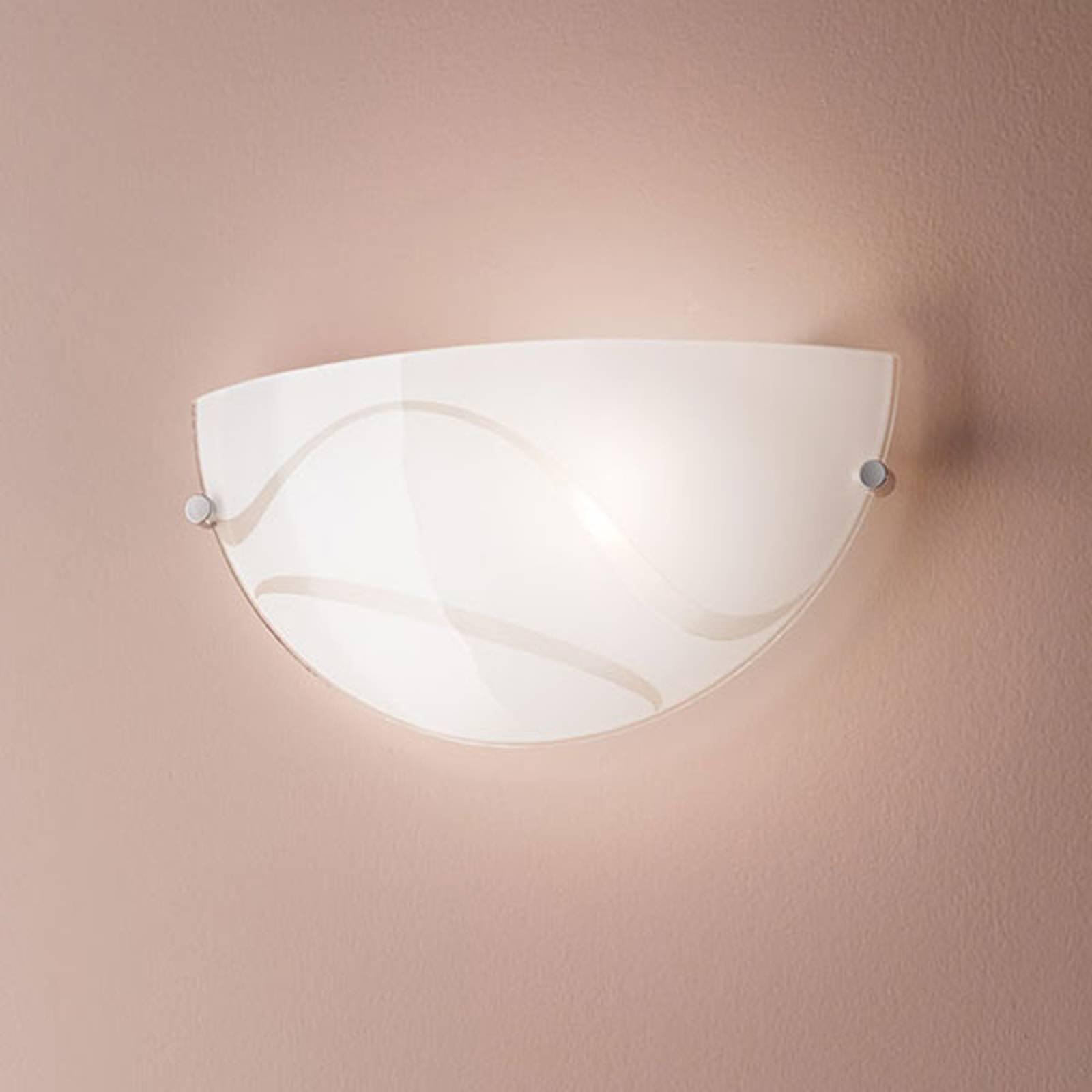 Wandlamp Magma, wit, van glas