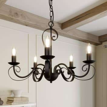 Lindby Shervan Kroonluchter, 5-lamps, bruin