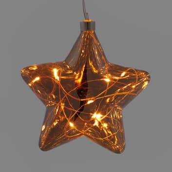 LED skleněná hvězda perly světelný řetěz, baterie