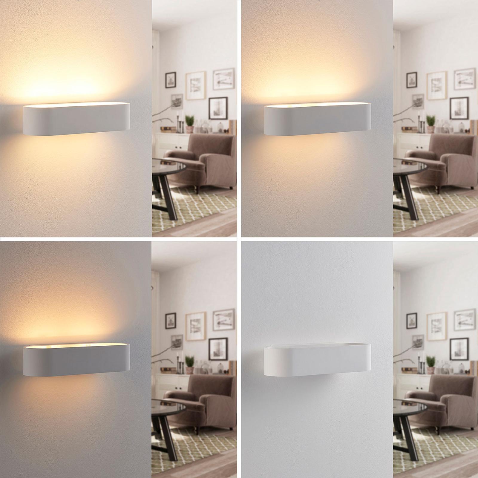 Afgeronde gipswandlamp Fioni, LED