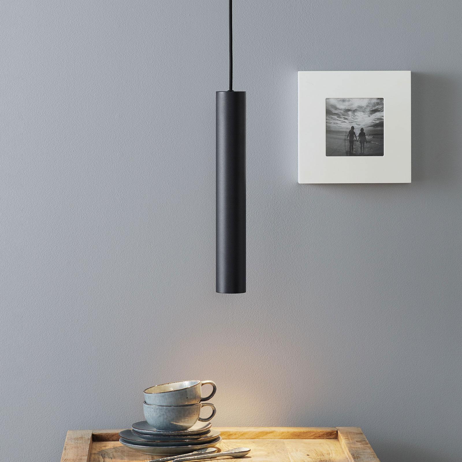 LED-Pendelleuchte Look in schmaler Form, schwarz