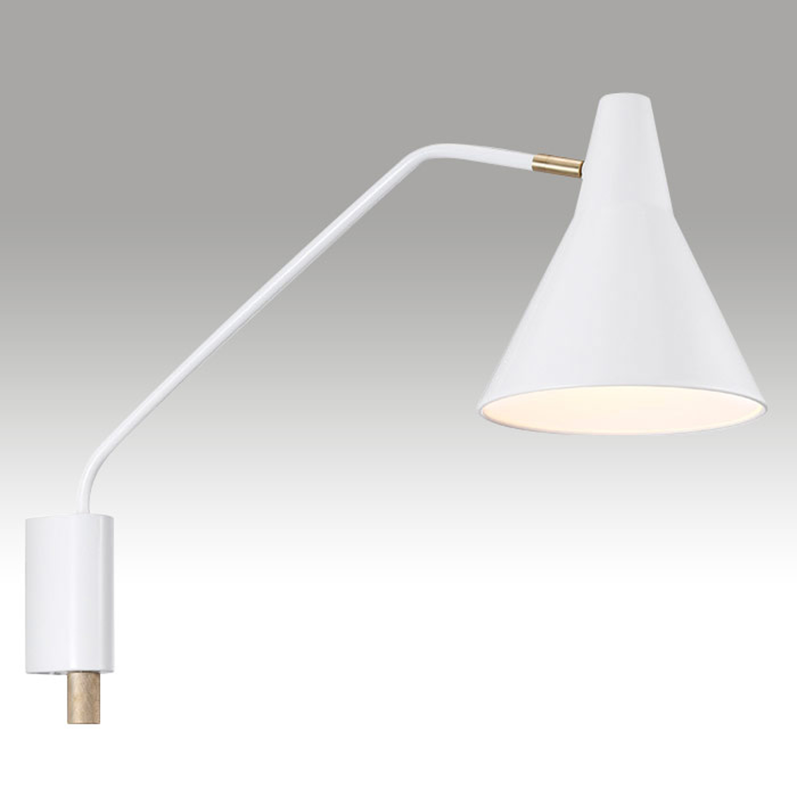 Breed projecterende wandlamp Brassy wit