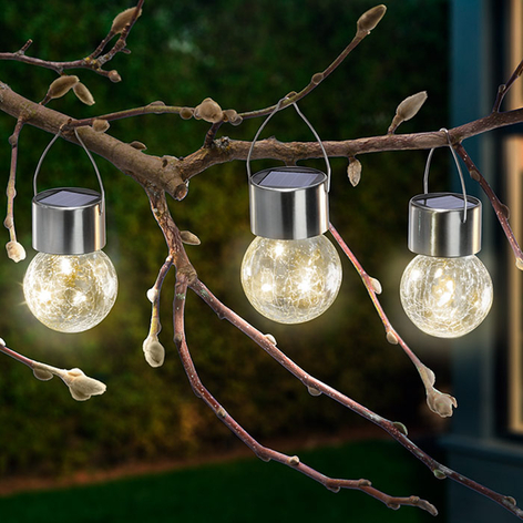 Lampes solaires LED Crackle Ball lot de 3, 3 000 K