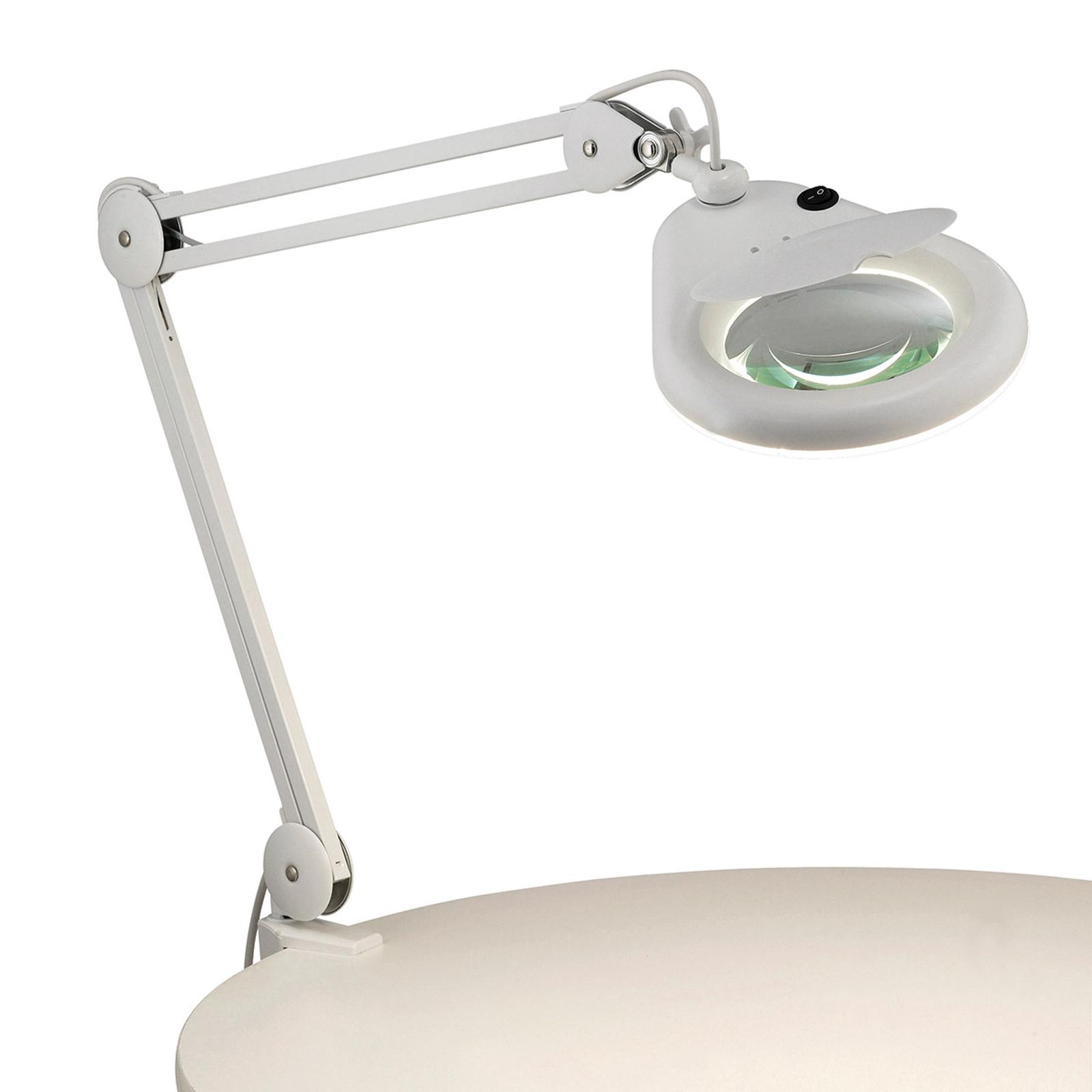 Lampa z lupą Halltorp, zaciskana, biała