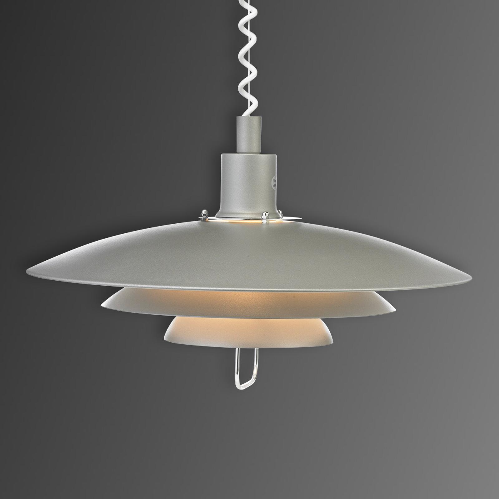 Grijze hanglamp Kirkenes met trekkoord