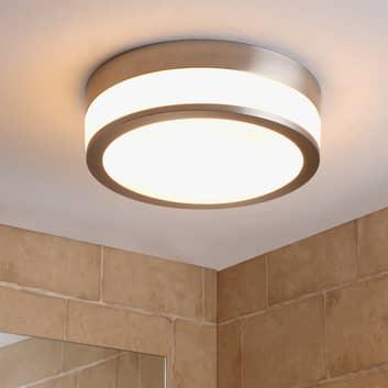 Lindby Flavi taklampe til bad, Ø 28 cm, nikkel