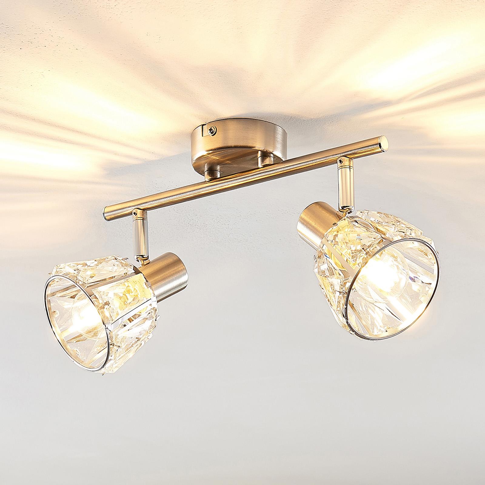 Lindby Kosta taklampe, 2 lyskilder, nikkel