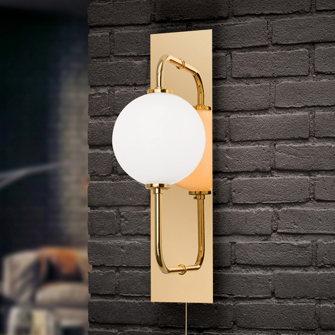 LED wandlamp Pipes in glanzend goud