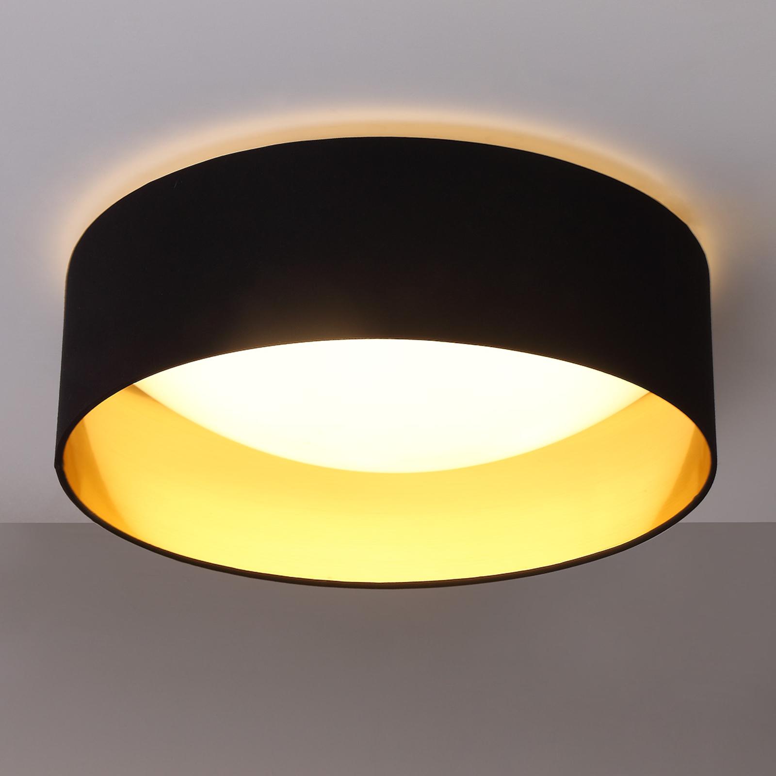 Stof loftslampen Coleen i sort, gylden inden i
