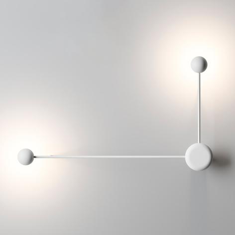 Designervägglampa Pin med 2 LED-ljuskällor, vit