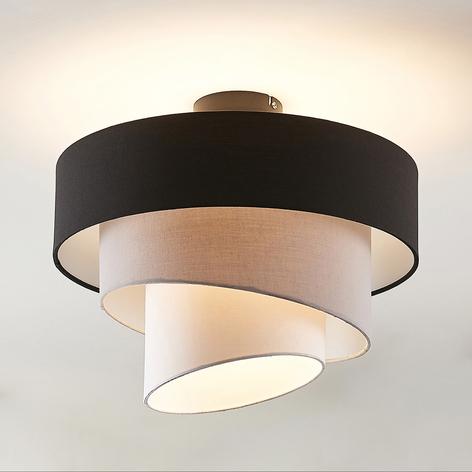 Lindby Coria Deckenlampe, schwarz und grau
