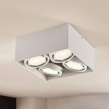 LED-downlight Rosalie kantig 4 lampor vit