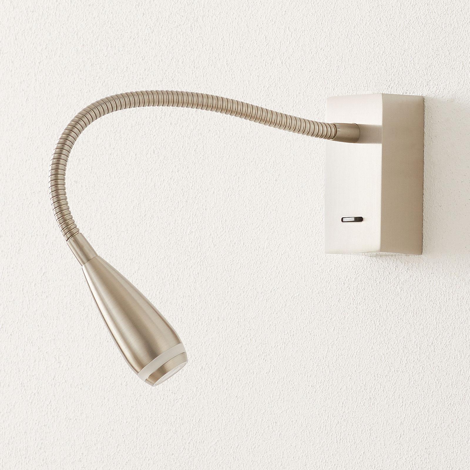 LED-Wandleuchte Clik mit Schalter, nickel matt