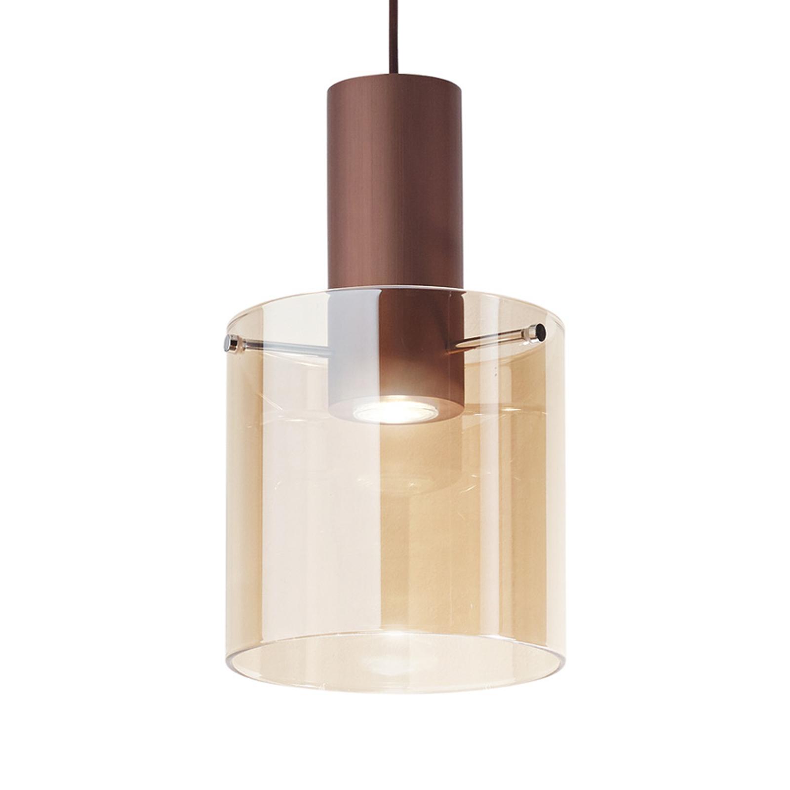 Hanglamp Hugo, ophanging koper, glas amber