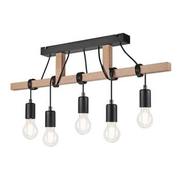Lámpara colgante Tyske de madera, 5 luces, negro