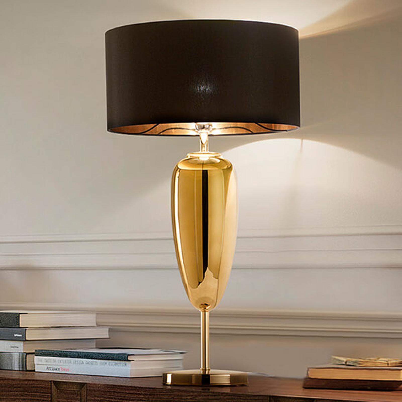 Show Ogiva - czarno-złota tekstylna lampa stołowa