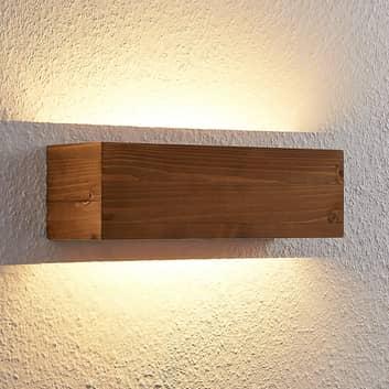 Lindby Benicio Holz-LED-Wandleuchte, eckig, 37 cm