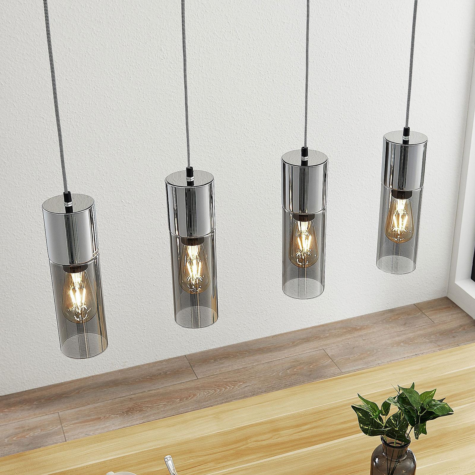 Hanglamp Eleen met 4 cilinder in rookglas