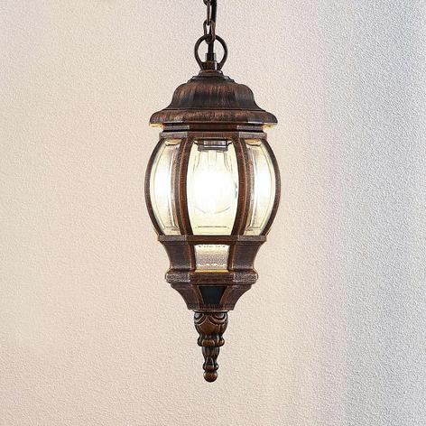 Lámpara colgante exterior Nadesha, dorado pulido