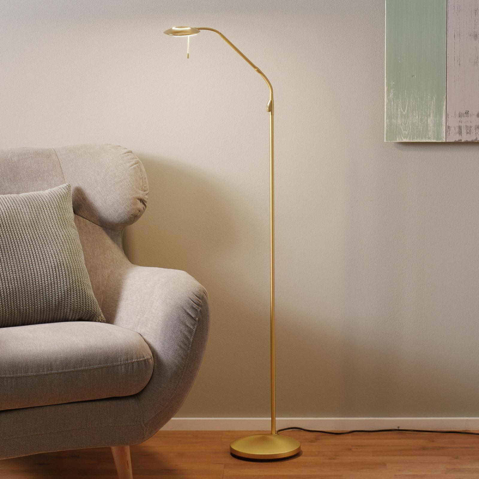 Jak mosiądz, lampa stojąca LED Zenith, ściemniacz